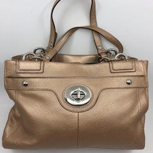 COACH L Golden Leather Shoulder Bag